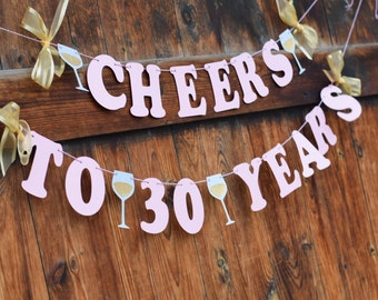 30th birthday banner for her, CHEERS TO 30 YEARS, Pink and Gold Birthday Banner