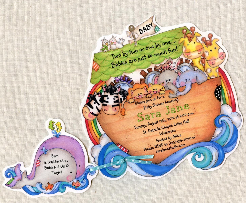 10 Noah\'s Ark Invitations Baby Shower Invitations
