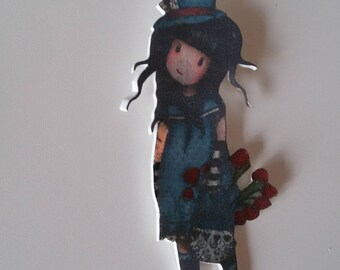 Girl with basket of flowers pendant