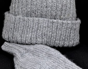 Grey Hat with Matching Mittens