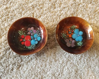 Set of two copper, and enamel mini trinket bowls, small defects priced to sell