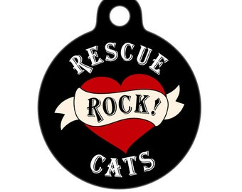 Pet ID Tag - Rescue Cats Rock Heart Pet Tag, Cat Tag, Luggage Tag