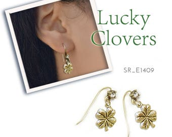 Four Leaf Clover Earrings, St. Patrick's Day Earrings, Shamrock Earrings, Lucky earrings, St. Patricks Day Jewelry E1409