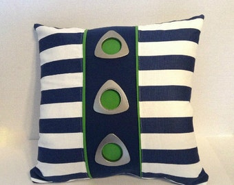 "SALE Navy White Green Nautical Canopy Stripe Grommet Designer Pillow/Decorative Throw Pillow Cover 20"" x 20""/Zipper Closure"