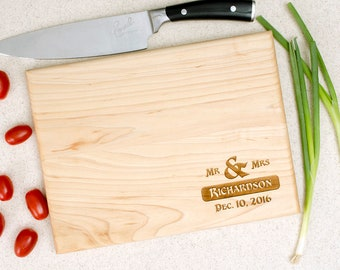 Personalized cutting board, wedding gift, custom cutting board, engraved cutting board, anniversary gift, monogram, name and date