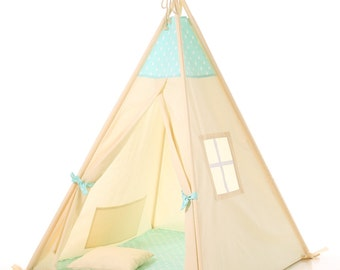 Kids teepee + poles ,play tent, children's teepee tipi, kids teepee with poles, tent, play teepee,  natural cotton tipi, tipi enfant,natural