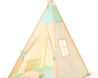 Kids teepee play tent wigwam, children's teepee tipi,  kids teepee, tent, play teepee, high quality wigwam  TIPI ENFANTS natural cotton tipi