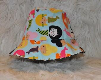 Baby, toddler, children's/kids spring/summer reversible mermaid girl friends & zebra print bucket hat