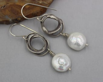White Coin Pearl Earrings, Rustic, Funky, Small Silver Hoop Earrings with Heavy Patina, Artisan Earrings, Pearl Earrings, One of a Kind
