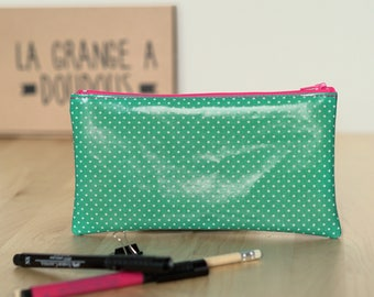 Pencil case green Emerald with white polka dots