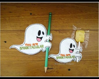In the hoop ghost you are spooktacular pencil lollypop holder (4x4 and 5x7) machine embroidery Instant digital download