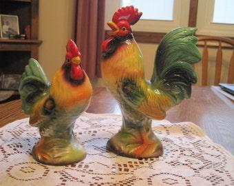 Vintage Pair Ceramic Chicken & Roosters 1950