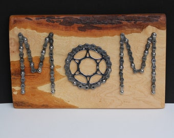 MOM Sign - Mothers Day Gift -Bike Chain on Rustic Wood- Gift for Mom Cyclist- Bike Lover Mom Gift -Mothers Day Gift for Cyclist - I Love MOM