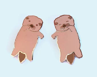 2 Otters Holding Hands Enamel Pins