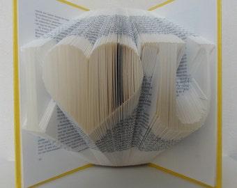 Folded Book Art - I <3U - Unique present