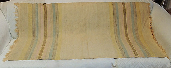 "Vintage WWI era American Hand woven Rug 34"" x 62""..With History.. Pastel Colors"