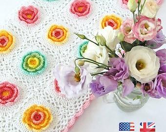 Blooming Baby Blanket Pattern / Flowery Crochet Blanket Tutorial/Blanket crochet baby/Baby crochet pattern/Crochet PDF baby/Stroller blanket