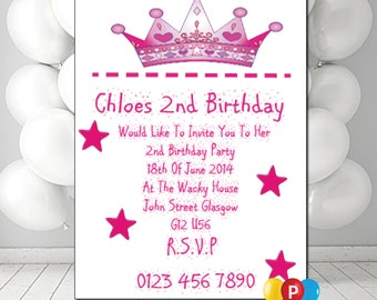 Personalised Crown Birthday Party Invites A6 Cards Pack Of 12