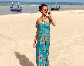 Aqua green printed halter or strapless   long maxi dress All size