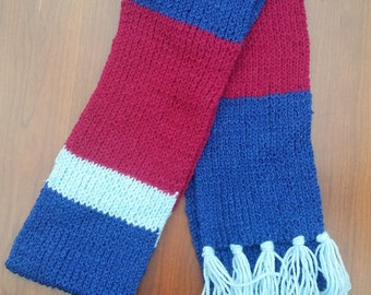 Cranberry and Blues Striped Scarf