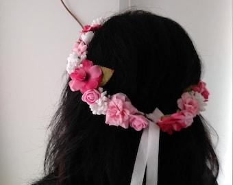 Pink artificial flower tiara