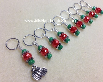 Pumpkin Knitting Stitch Markers- Beaded Snag Free Stitch Markers- Gift for Knitters- Notions- Fall- Autumn