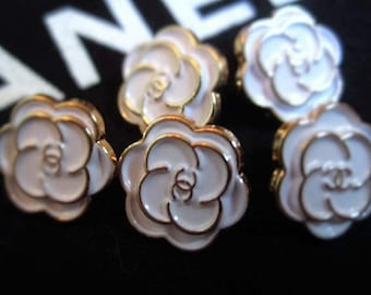 Set of 5 Chanel White/Gold  enamel metal buttons, 13mm