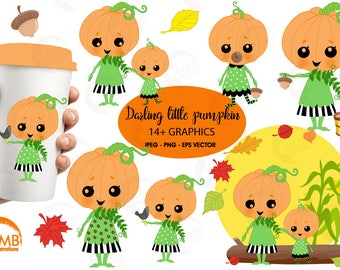 Darling little pumpkins clipart, Pumpkin Clipart, cute little Pumpkin Faces, Girlie Pumpkin, Halloween clipart, Commercial Use, AMB-2261
