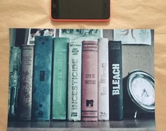 NIRVANA A4 fine art print albums on bookshelf ideal for framing try grunge music