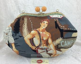 Handmade handbag purse clutch kiss clasp Grace frame bag Alexander Henry Campers Hikers Outdoorsy