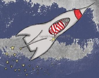 Space Art Print Rocket Themed Nursery Art Print Boy Nursery Playroom Art Navy and Red Wall Decor Space Rocket and Stars