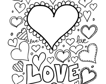 Color Your Own Hearts and Love Design Notecard Set