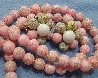 SALE! Textured Pink Lucite Bead Necklace With Bead Cluster Clip Earrings~Vintage Loveliness! (was 10.00)