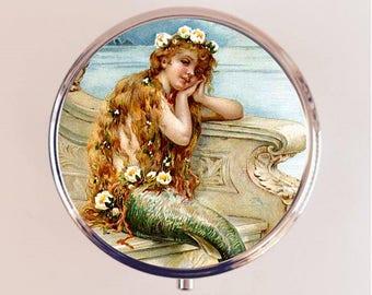 Mermaid Pill Box Case Pillbox Holder Trinket Stash Box Edwardian Nautical Siren