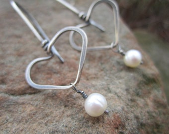 Heart Earrings - Sterling Silver Hearts with a Small White Freshwater Pearl Drop.