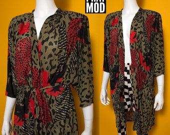 Cool Vintage 80s Beige, Black & Red Abstract Animal Print Drapey Robe Kimono by Gottex