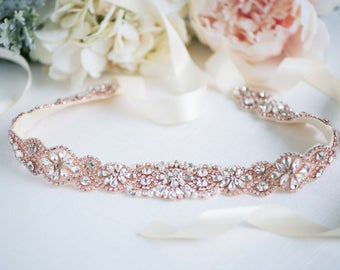 Rose Gold Bridal Belt - Rose Gold Wedding Belt - Wedding Dresss Sash - Rose Gold Bridal Sash - Crystal Belt - Crystal Headband