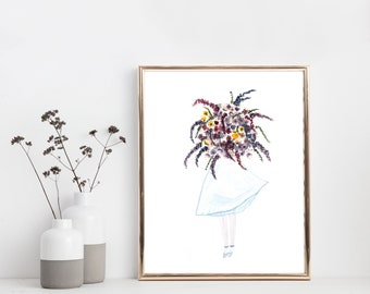 Flower Girl, Watercolor Art Print