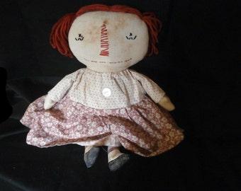 Handmade Primitve Folk Art Pink Annie