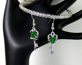 Personalized Key Earrings- Birthstone Earrings-Choose SILVER  or Hypoallergenic Ear Wires