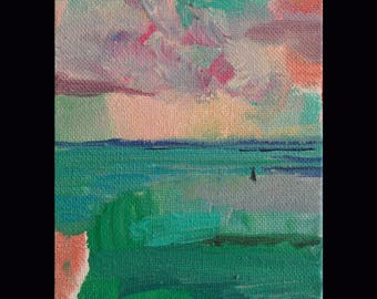 Pink and blue Seascape Landscape Small Original Acrylic Painting