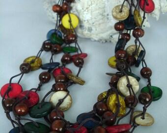 Multicolore collier en bois - noix de coco collier de perles-bijoux ensemble-été & boucles d'oreilles - multibrins - nouée - perles / disques-