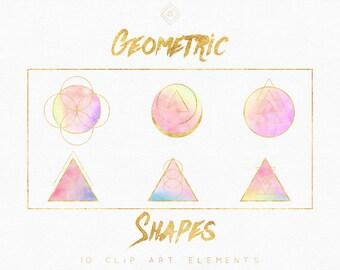 Geometric Clipart - Bohemian Clipart - Boho Clip Art - Boho Clipart - Rainbow Clipart - Gold Foil Modern Abstract - DIY Logo Banner