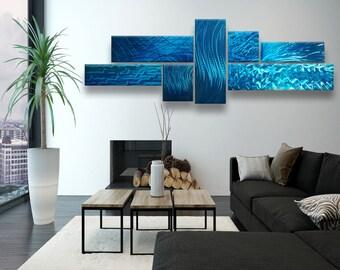 Metal Wall Art, Blue Abstract Metal Wall Sculpture, Modern Metal Wall Art, Teal Wall Sculpture, Multipanel Wall Sculpture, Modern Wall Decor