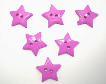 LOT 6 buttons: 12mm Purple Star