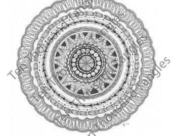 "Zendala Coloring Page / Zentangle® Inspired Art - ""Queste"""