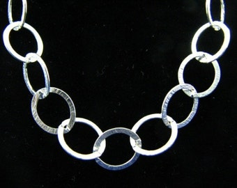 10mm Oval Link Cable Chain Necklace Sterling Silver 24 inch