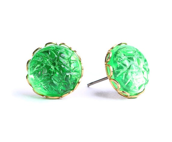 Green baroque jewel post earrings READY to ship (429)