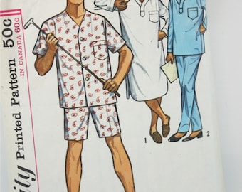 Simplicity 8958 80s Mens Womens Nightshirt Pattern Footed Drop