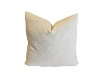 Matelasse pillow cover, creamy off white,French County, Coastal, rustic,18x18,20x20,24x24,26x26 Euro,lumbar,designer fabric, diamond